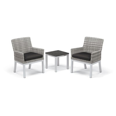 Travira 3 Piece Seating Group with Cushions Frame Finish: Charcoal, Fabric: Jet Black