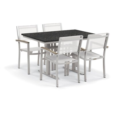 Farmington 5 Piece Outdoor Dining Set Finish: Ash, Cushion Color: Natural