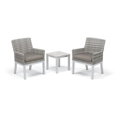 Travira 3 Piece Seating Group with Cushions Frame Finish: Ash, Fabric: Stone