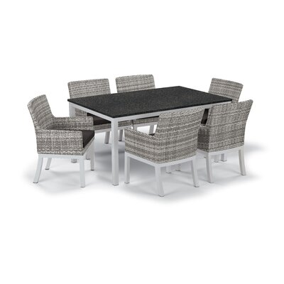 Farmington Wicker 7 Piece Dining Set Cushion Color: Jet Black, Finish: Charcoal