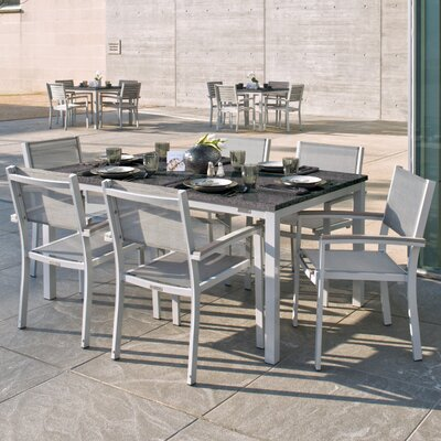 Farmington 7 Piece Tekwood Dining Set with Leg End Caps Cushion Color: Titanium