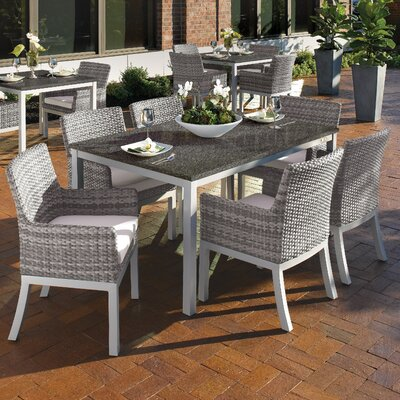 Farmington Wicker 7 Piece Dining Set Cushion Color: Eggshell White, Finish: Charcoal