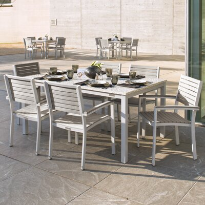 Farmington Contemporary 7 Piece Dining Set with Stackable Chairs Finish: Ash