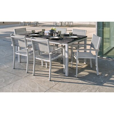Farmington 7 Piece Rust Proof Dining Set Finish: Natural, Cushion Color: Ink Pen