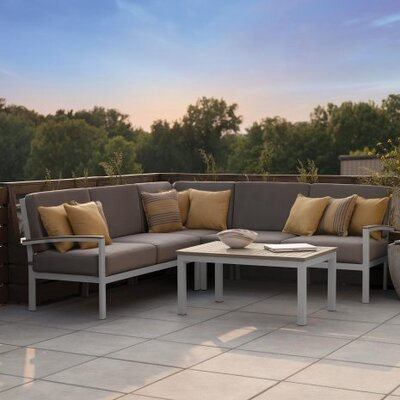 Farmington 4 Piece Rust Proof Deep Seating Group with Cushion Finish: Vintage