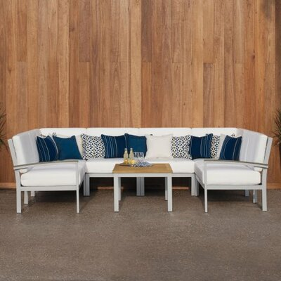 Farmington 4 Piece Rust Proof Deep Seating Group with Cushion Finish: Natural