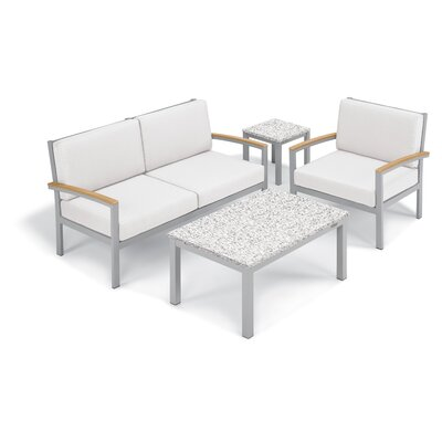 Farmington 4 Piece Deep Seating Group with Cushion Frame Finish: Natural, Fabric: Eggshell White, Table Top Finish: Ash