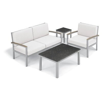 Farmington 4 Piece Deep Seating Group with Cushion Frame Finish: Vintage, Fabric: Eggshell White, Table Top Finish: Charcoal