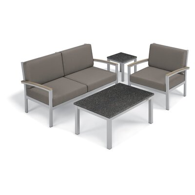Farmington 4 Piece Deep Seating Group with Cushion Fabric: Stone, Frame Finish: Vintage, Table Top Finish: Charcoal