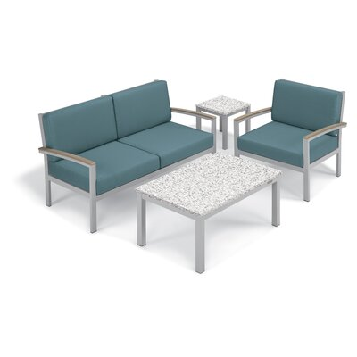 Farmington 4 Piece Deep Seating Group with Cushion Frame Finish: Vintage, Fabric: Ice Blue, Table Top Finish: Ash