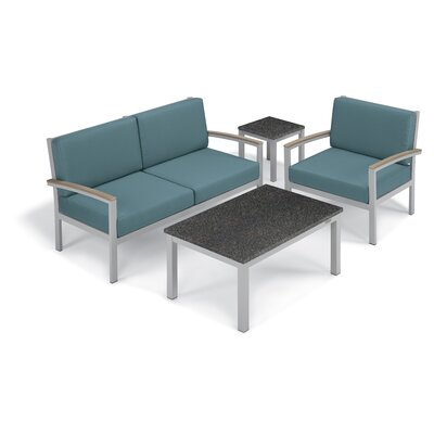Farmington 4 Piece Deep Seating Group with Cushion Frame Finish: Vintage, Fabric: Ice Blue, Table Top Finish: Charcoal