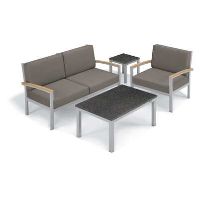 Farmington 4 Piece Deep Seating Group with Cushion Frame Finish: Natural, Fabric: Stone, Table Top Finish: Charcoal