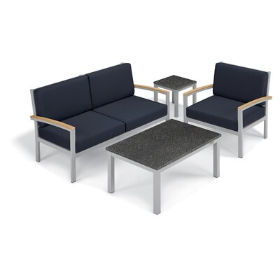 Farmington 4 Piece Deep Seating Group with Cushion Frame Finish: Natural, Fabric: Midnight Blue, Table Top Finish: Charcoal