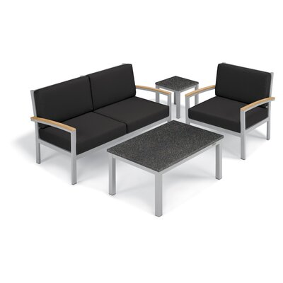 Farmington 4 Piece Deep Seating Group with Cushion Frame Finish: Natural, Fabric: Jet Black, Table Top Finish: Charcoal