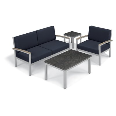 Farmington 4 Piece Deep Seating Group with Cushion Frame Finish: Vintage, Fabric: Midnight Blue, Table Top Finish: Charcoal