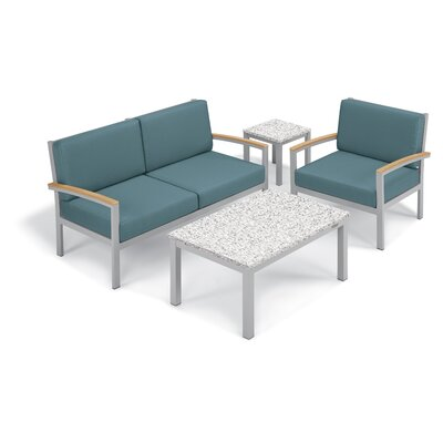 Farmington 4 Piece Deep Seating Group with Cushion Frame Finish: Natural, Fabric: Ice Blue, Table Top Finish: Ash