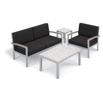 Farmington 4 Piece Deep Seating Group with Cushion Frame Finish: Vintage, Fabric: Jet Black, Table Top Finish: Ash