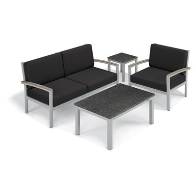 Farmington 4 Piece Deep Seating Group with Cushion Frame Finish: Vintage, Fabric: Jet Black, Table Top Finish: Charcoal