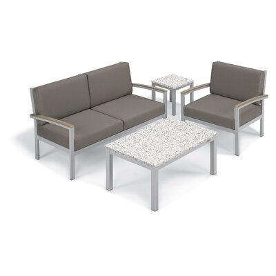 Travira 4 Piece Deep Seating Group with Cushion Fabric: Stone, Frame Finish: Vintage, Table Top Finish: Ash