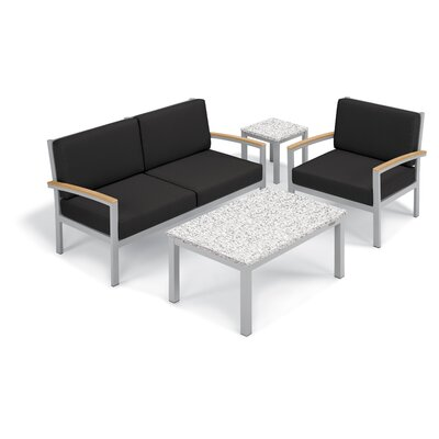 Farmington 4 Piece Deep Seating Group with Cushion Frame Finish: Natural, Fabric: Jet Black, Table Top Finish: Ash