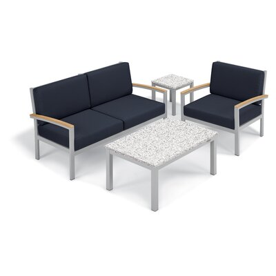 Farmington 4 Piece Deep Seating Group with Cushion Frame Finish: Natural, Fabric: Midnight Blue, Table Top Finish: Ash