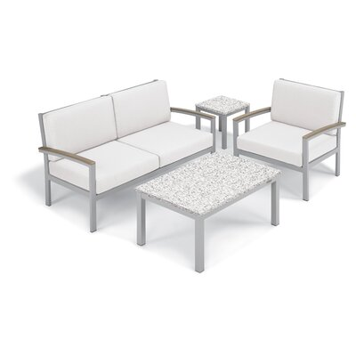 Farmington 4 Piece Deep Seating Group with Cushion Frame Finish: Vintage, Fabric: Eggshell White, Table Top Finish: Ash