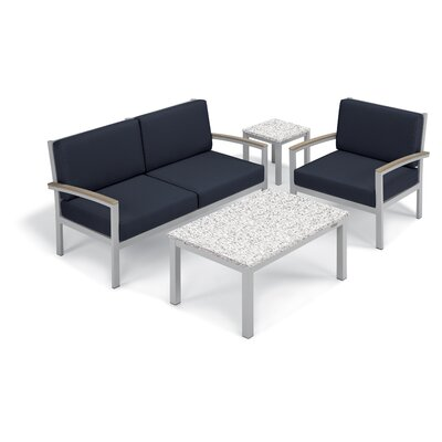 Farmington 4 Piece Deep Seating Group with Cushion Frame Finish: Vintage, Fabric: Midnight Blue, Table Top Finish: Ash