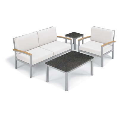 Farmington 4 Piece Deep Seating Group with Cushion Frame Finish: Natural, Fabric: Eggshell White, Table Top Finish: Charcoal