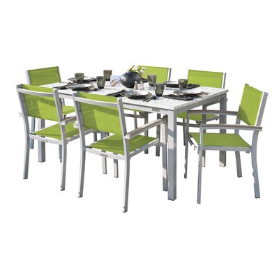 Farmington 7 Piece Tekwood Dining Set with Leg End Caps Cushion Color: Ink Pen