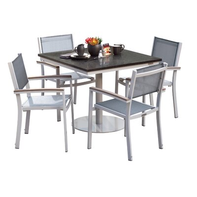 Farmington Contemporary 5 Piece Dining Set with Sling Back Chairs Finish: Natural, Cushion Color: Titanium