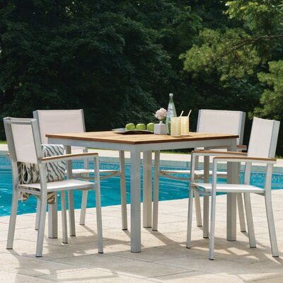 Farmington 5 Piece Dining Set with Sling Back Chairs Color: Natural
