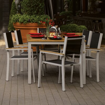 Farmington 7 Piece Aluminum Frame Dining Set with Removable Plug for Umbrella Color: Black