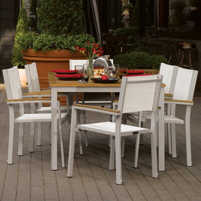 Farmington 7 Piece Aluminum Frame Dining Set with Removable Plug for Umbrella Color: Natural