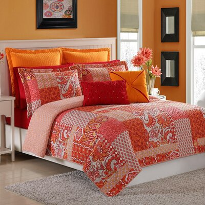 Marchia Quilt Set Size: Twin, Color: Bright Poppy