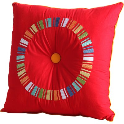 Fiesta Circle Throw Pillow Color: Scarlet/Tangerine