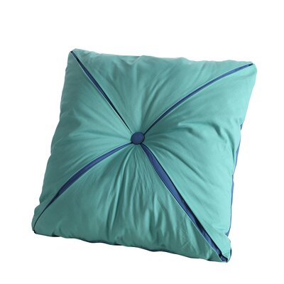 Square Reversible Button Accent Throw Pillow Color: Lapis/Turquoise 118214REVBUTPIL-LT