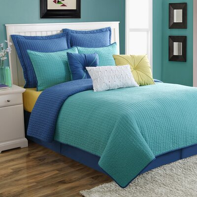 Dash Reversible Quilt Set Size: King, Color: Blue