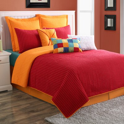 Dash Reversible Quilt Set Size: King, Color: Red