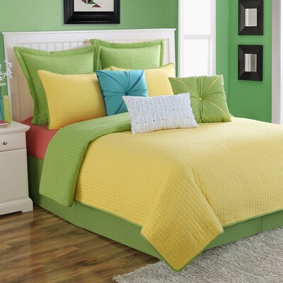Dash Reversible Quilt Set Size: King, Color: Lemon/Green