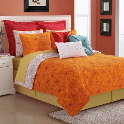 Cotton 3 Piece Reversible Quilt Set Size: Full/Queen, Color: Orange