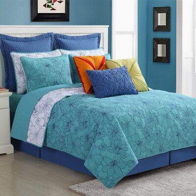 Cotton 3 Piece Reversible Quilt Set Size: King, Color: Turquoise