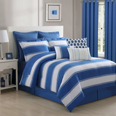 Cabana Stripe Comforter Set Size: Queen, Color: Lapis