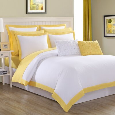 Classic 3 Piece Duvet Set Size: Twin, Color: Sunflower Yellow Trim