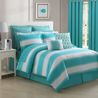 Cabana Stripe Comforter Set Size: Queen, Color: Turquoise