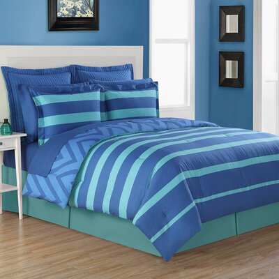 Biscay Reversible Comforter Set Size: Queen, Color: Blue/Green