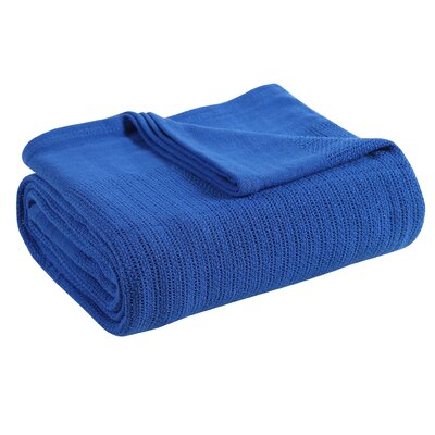 Thermal 100% Cotton Blanket Size: Full/Queen, Color: Lapis