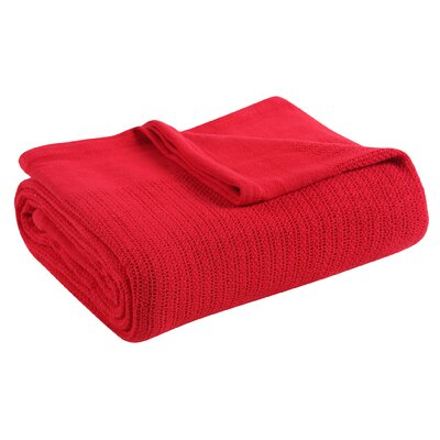 Thermal 100% Cotton Blanket Size: Twin, Color: Scarlet