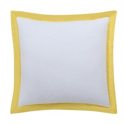 Classic Euro Sham Color: White with Sunflower yellow trim