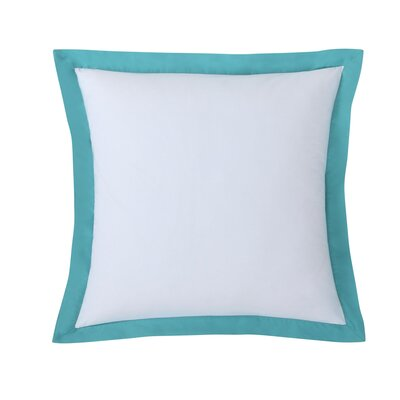 Classic Euro Sham Color: White with Turquoise trim