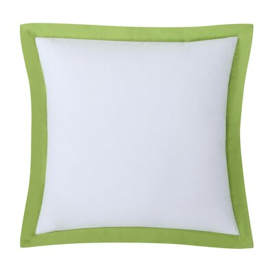 Classic Euro Sham Color: White with Lemongrass Trim